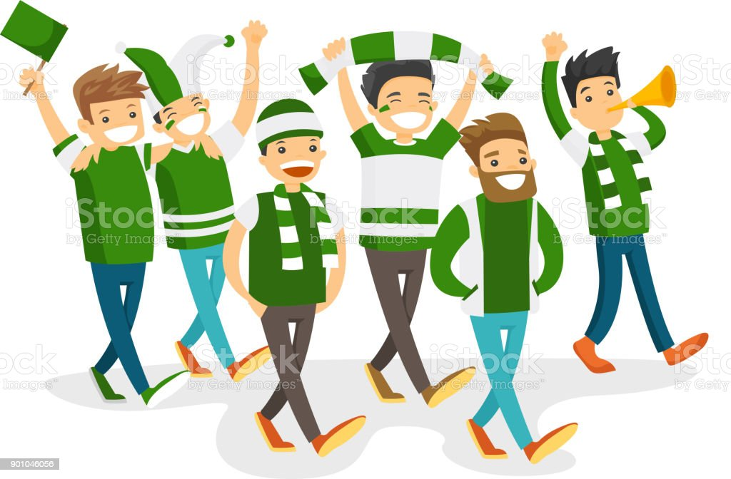Group of happy sport fans supporting their team vector art illustration
