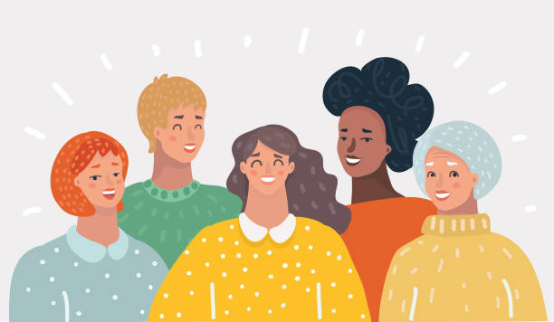 bildbanksillustrationer, clip art samt tecknat material och ikoner med grupp av lycklig kvinna - medelålders