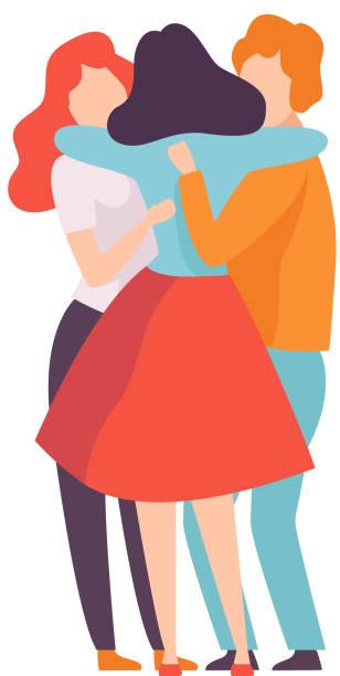 gruppe von glücklichen jungen männlichen und weiblichen umarmungen einander, menschen feiern event, beste freunde, freundschaftskonzept vektor-illustration - freunde stock-grafiken, -clipart, -cartoons und -symbole