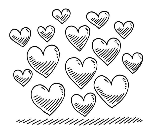 Group Of Heart Symbols Drawing vector art illustration