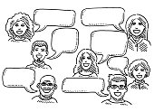 Hand-drawn vector drawing of a Group Of Human Heads with Speech Bubbles. Black-and-White sketch on a transparent background (.eps-file). Included files are EPS (v10) and Hi-Res JPG.