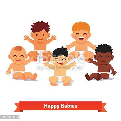 istock Group of infants. Five mixed race baby boy 491986810
