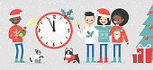 A group of interracial friends celebrating the New Year. Big wall clock showing midnight. People and pets. Snowflakes. Xmas sweaters. Flat editable vector illustration, clip art