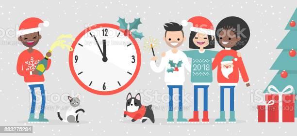 Group of interracial friends celebrating the new year big wall clock vector id883275284?b=1&k=6&m=883275284&s=612x612&h=ajqysd1gonhggyemhqh9gtts4yi4pvjkd3ppe8bcl1g=