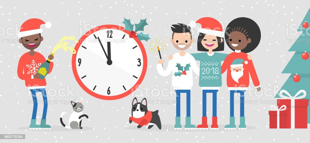 A group of interracial friends celebrating the New Year. Big wall clock showing midnight. People and pets. Snowflakes. Xmas sweaters. Flat editable vector illustration, clip art vector art illustration