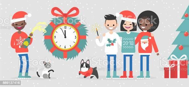 Group of interracial friends celebrating the new year big wall clock vector id889137416?b=1&k=6&m=889137416&s=612x612&h=uuncii6gtqsqiazkoku79 fot6i2rhgb82awm0eqqrw=