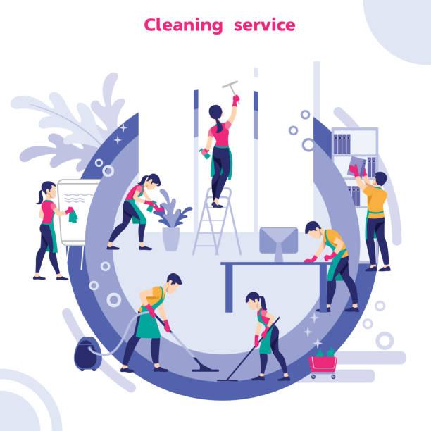 üniformalı hademeler grubu temizlik ekipmanları ile ofis temizliği, vektör illüstrasyon - cleaning stock illustrations