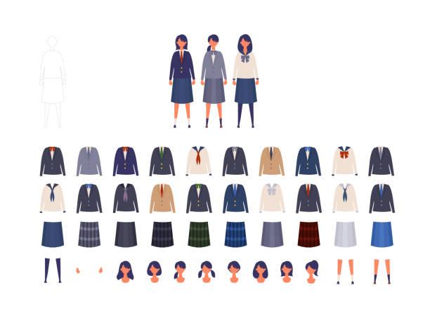 stockillustraties, clipart, cartoons en iconen met groep japans schoolmeisjesuniform van hoge en middenschool. de illustratie van de vector van meisjes in eenvormig van verschillende kleuren. - schooluniform