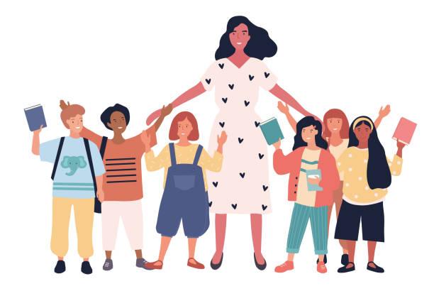 ilustrações, clipart, desenhos animados e ícones de grupo de escolares multiétnicos alegres - professor