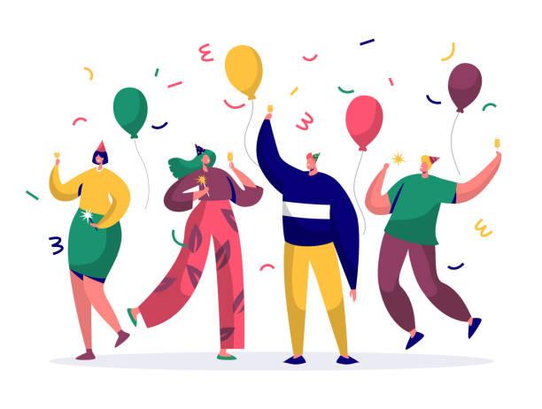 ilustraciones, imágenes clip art, dibujos animados e iconos de stock de grupo de personas alegres celebrando fiesta de año nuevo o cumpleaños. personajes hombre y mujer en sombreros de divertirse y tener tostadas con confeti y globos. ilustración de vector - fiesta