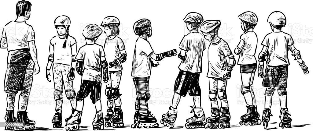 Group of junior students on roller skates vector art illustration