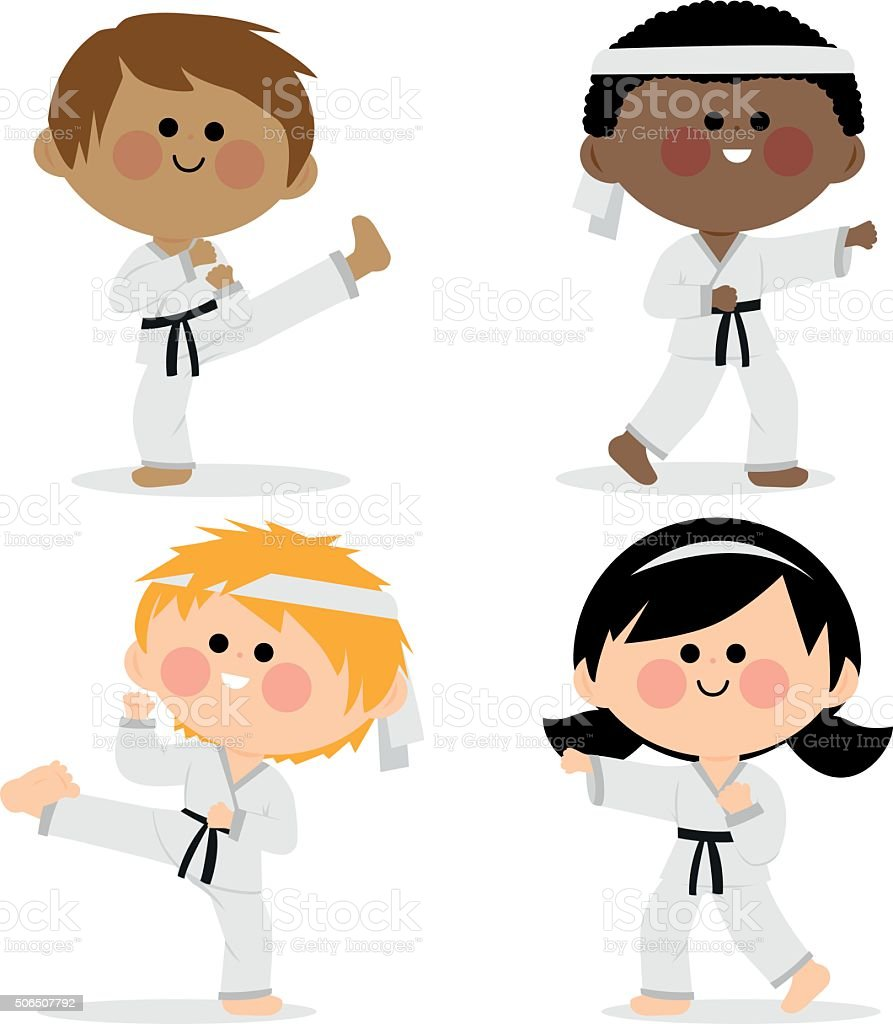 Group of karate kids wearing martial arts uniforms vector art illustration