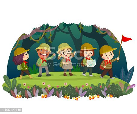 istock Group of kid travelers with backpack hiking in the forest. Children have summer outdoor adventure. 1190122716