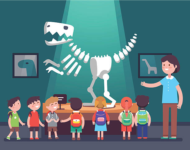 illustrations, cliparts, dessins animés et icônes de group of kids at archeology museum excursion - museum