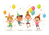Happy kids celebrating a party with balloons, party hats and confetti. Happy birthday concept. Cartoon character design isolated on white background.