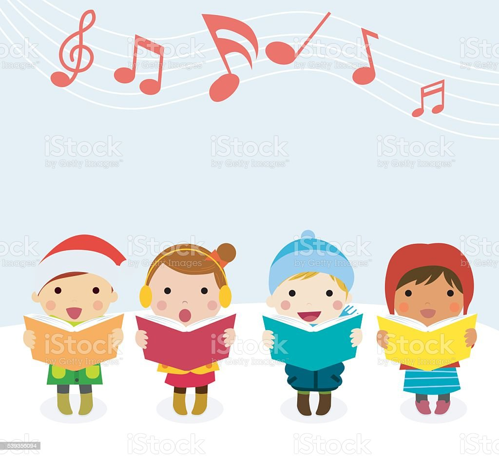 Group of kids chorus singing Christmas songs. Vector illustration vector art illustration
