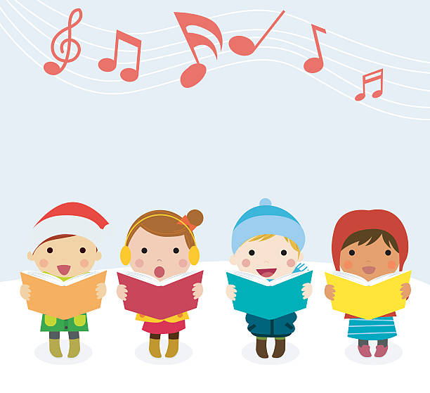 Religious Christmas Music Clipart.Best Christmas Carol Illustrations Royalty Free Vector