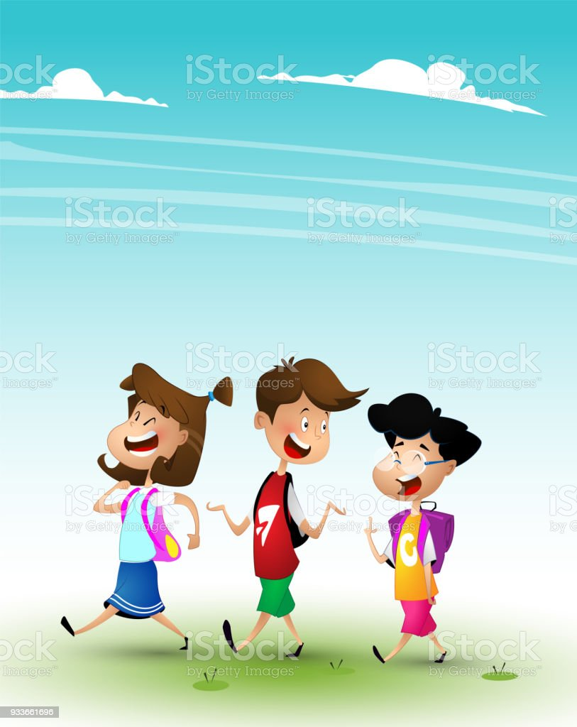 Group of kids going to school or to nome together vector art illustration