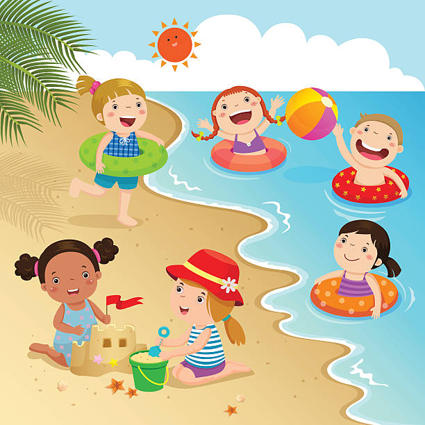 Royalty Free Children Beach Clip Art, Vector Images ...
