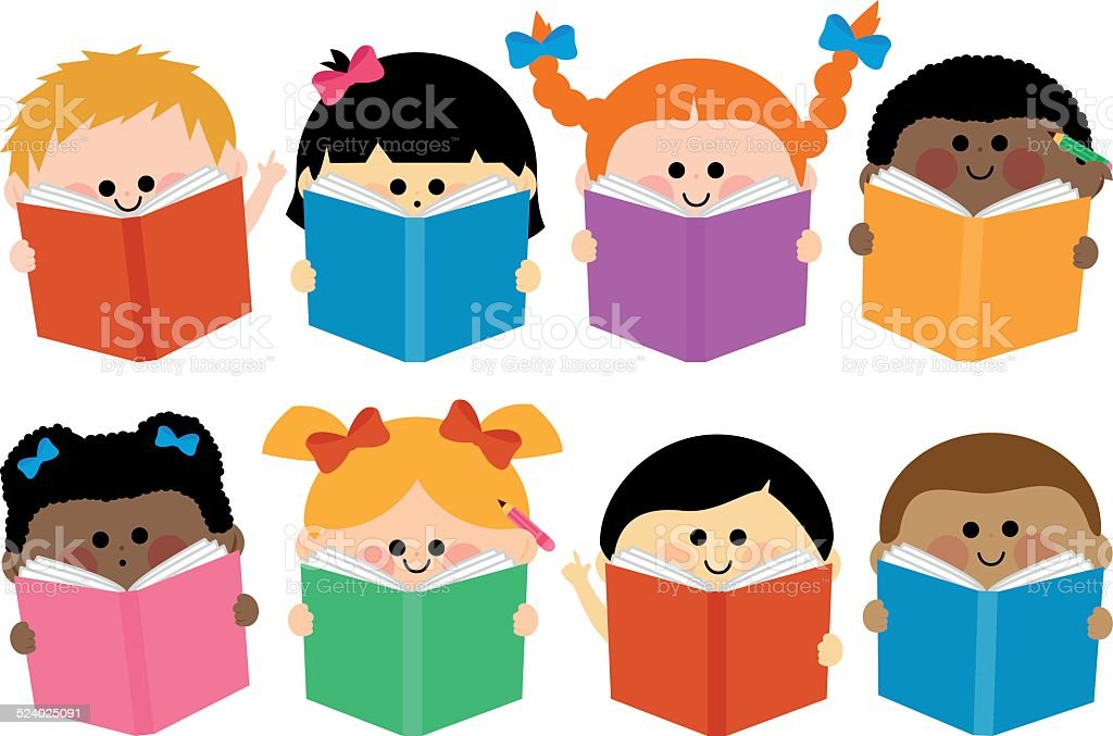 Group of kids icons reading books vector art illustration