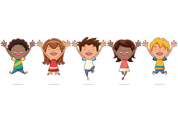 group of kids jumping - brown hair stock illustrations