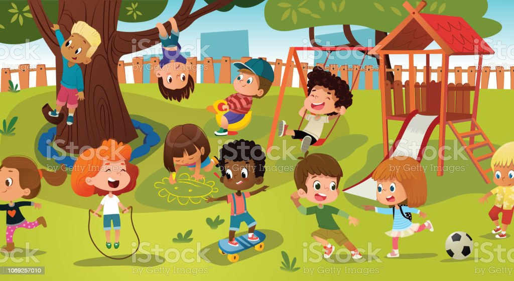 Catch Oyun Oynarken Bir Kamu Park Ya Da Okul Bahcesi Ile