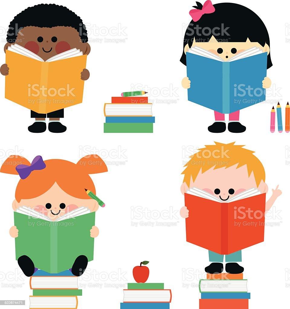 Group of kids reading books vector art illustration