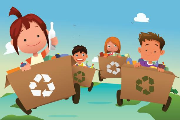 group of kids recycling trash - child throwing garbage stock illustrations, clip art, cartoons, & icons
