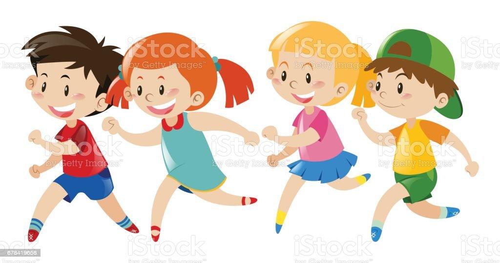 royalty free children running clip art vector images rh istockphoto com child running free clipart Running Race Clip Art