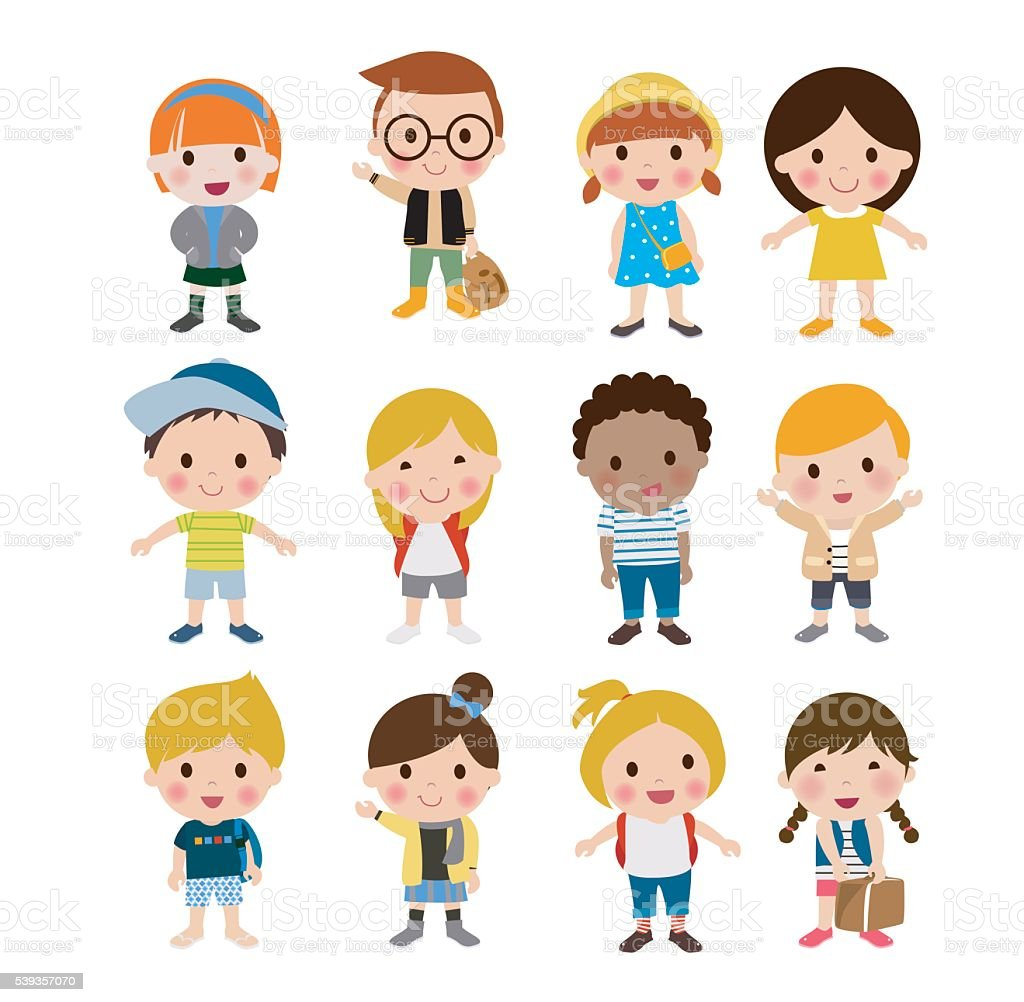 Group of kids set vector art illustration