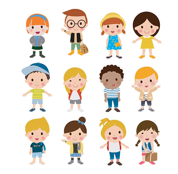 group of kids set - cartoon kids stock illustrations, clip art, cartoons, & icons