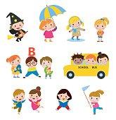 Group of kids set - illustration
