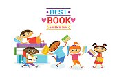 Group Of Kids With Books Reading Cute Children Happy Smiling Flat Vector Illustration