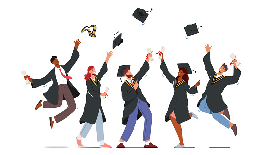 Group of Male and Female Characters in Graduation Gowns and Caps Rejoice, Jumping and Cheering Up Happy to Get Diploma