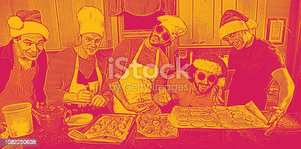 Group of male friends baking Christmas cookies