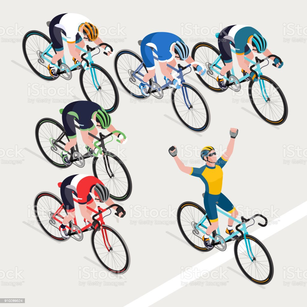 Group of man's cyclists in road bicycle racing got the winner bike race. vector art illustration