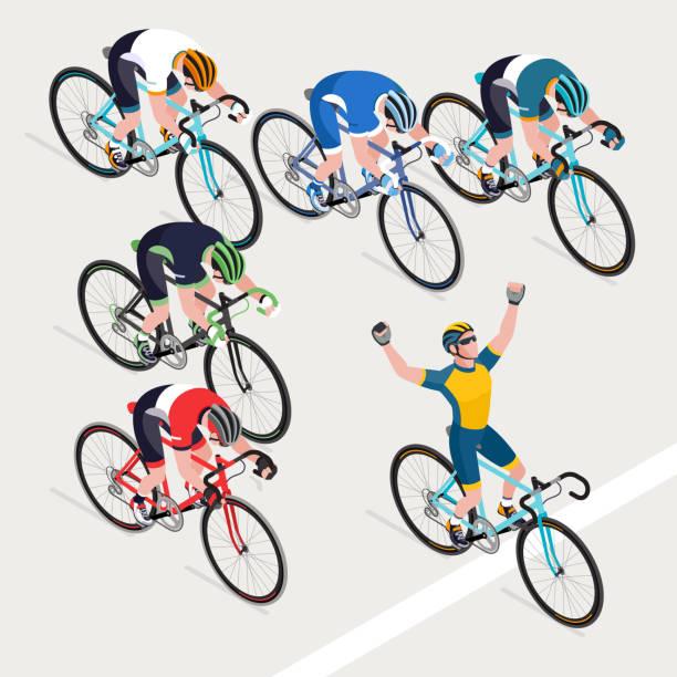 illustrations, cliparts, dessins animés et icônes de groupe de cyclistes de l'homme en cyclisme sur route a obtenu le vainqueur course de vélo. - moto sport