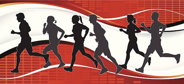 gruppe von marathon-läufer auf abstrakten hintergrund. - langstreckenlauf stock-grafiken, -clipart, -cartoons und -symbole