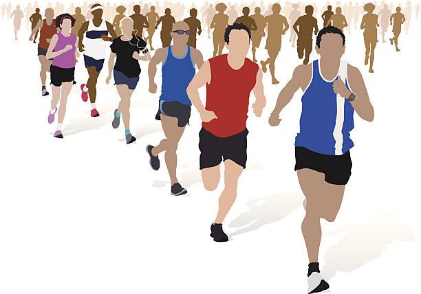 gruppe von marathon-läufer. - langstreckenlauf stock-grafiken, -clipart, -cartoons und -symbole