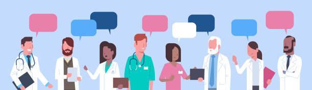 illustrazioni stock, clip art, cartoni animati e icone di tendenza di group of medical doctors standing chat bubble treatment social network concept - personale medico