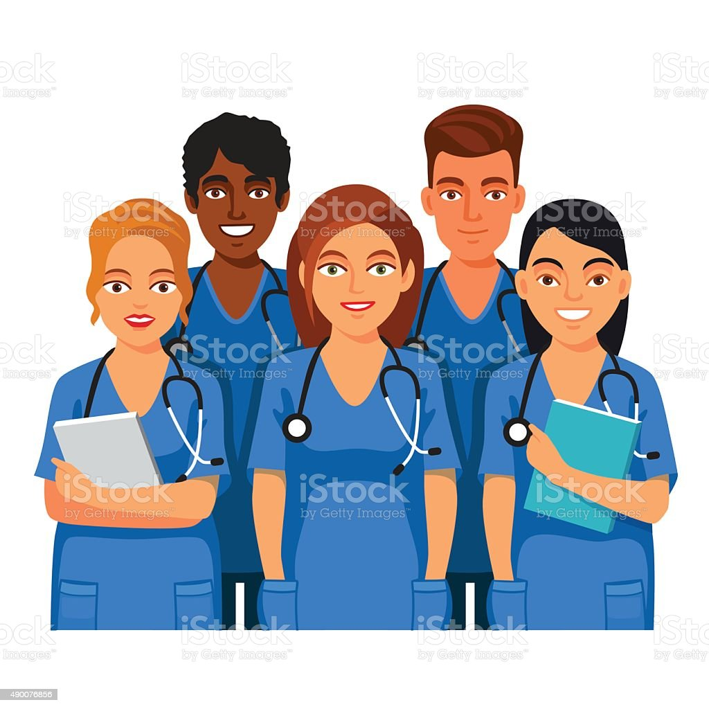 Group of medical students, nurses or interns vector art illustration