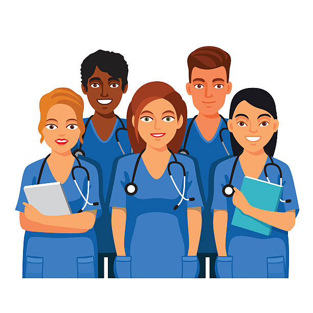 group of medical students, nurses or interns - nurse stock illustrations, clip art, cartoons, & icons