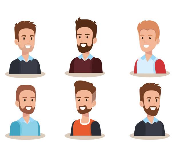 ilustrações, clipart, desenhos animados e ícones de grupo de homens avatares personagens - moda urbana