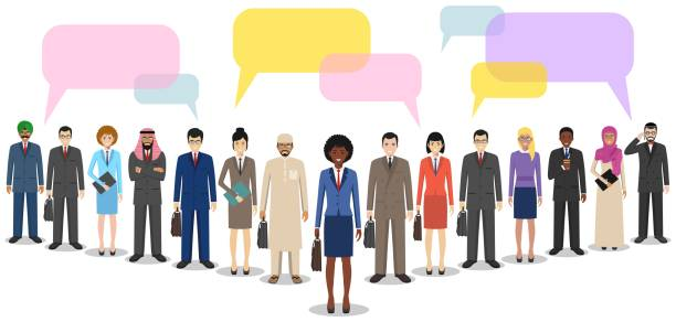 Group of men businessmen standing together and speech bubbles on white background in flat style. Business team and teamwork. Different nationalities and dress styles. Concept of the opinion poll. vector art illustration