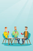 Group of young caucasian friends drinking hot and alcoholic drinks. Three smiling friends hanging out together in a cafe. Friends relaxing in cafe. Vector flat design illustration. Vertical layout.