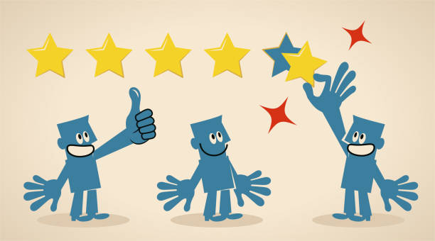 Group of men giving a rating of five stars and gesturing thumbs up vector art illustration