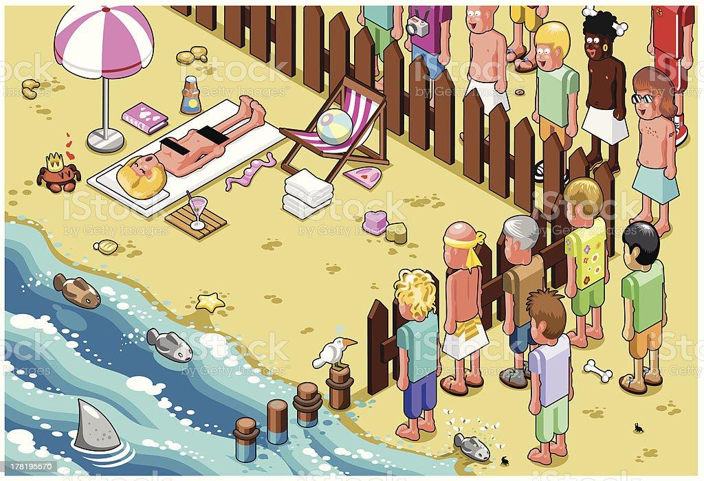 Group of men staring at nude beach (vector) vector art illustration