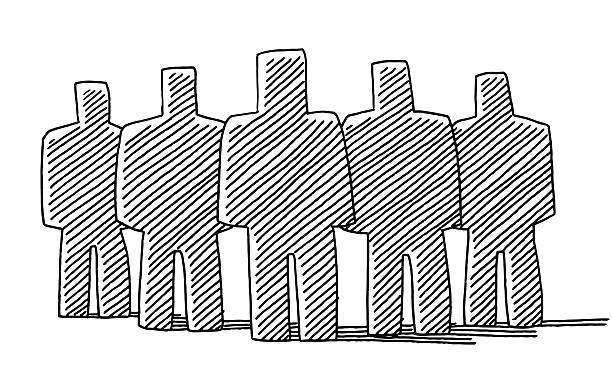 Group Of Men Teamwork Concept Drawing Hand-drawn vector drawing of the silhoettes of a Group of strong Men. Teamwork Concept. Black-and-White sketch on a transparent background (.eps-file). Included files are EPS (v10) and Hi-Res JPG. five people stock illustrations
