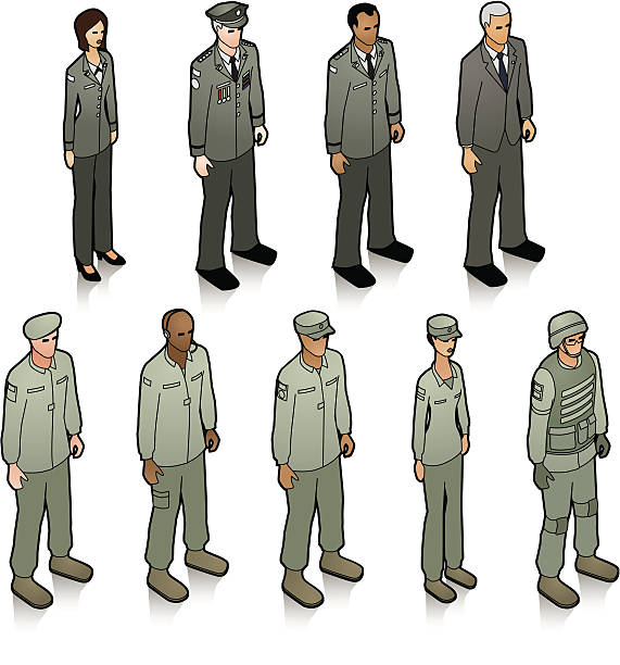 A group of military personnel dressed in uniform vector art illustration
