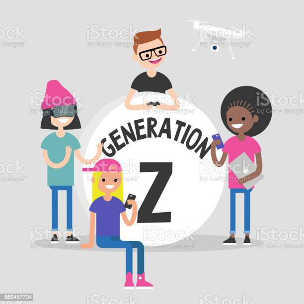Group of millennial friends gathering around big generation z sign vector id889457704?b=1&k=6&m=889457704&s=612x612&h=zhwabb3exbf05vrmzditj62txtwhsbnluvf5eksxkta=